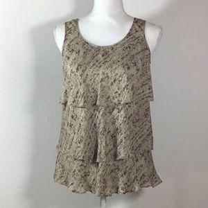 Michael Kors Silk sleeveless Ruffle Top Size 2P